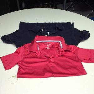 2 boys polos size 4/5 red and navy
